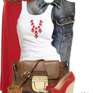 Dresses & Skirts - Dark red soft maxi skirt with front cut out